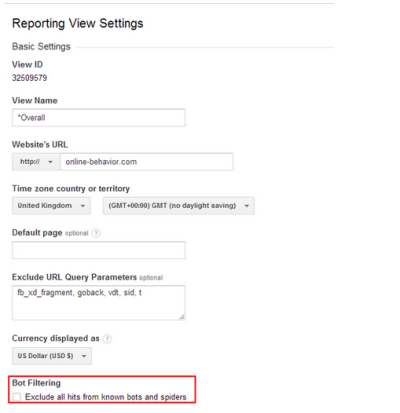 Exclude bots and spiders from Analytics reports