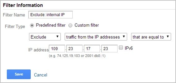 Exclude internal IP with analytics filters
